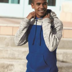 8676 Adult Melange Fleece Colorblocked Hooded Pullover Thumbnail
